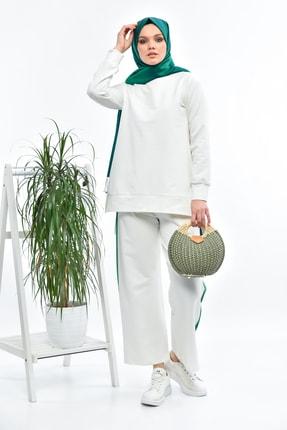 THE RAREBELL Yeşil Şeritli Ekru Eşofman Takımı