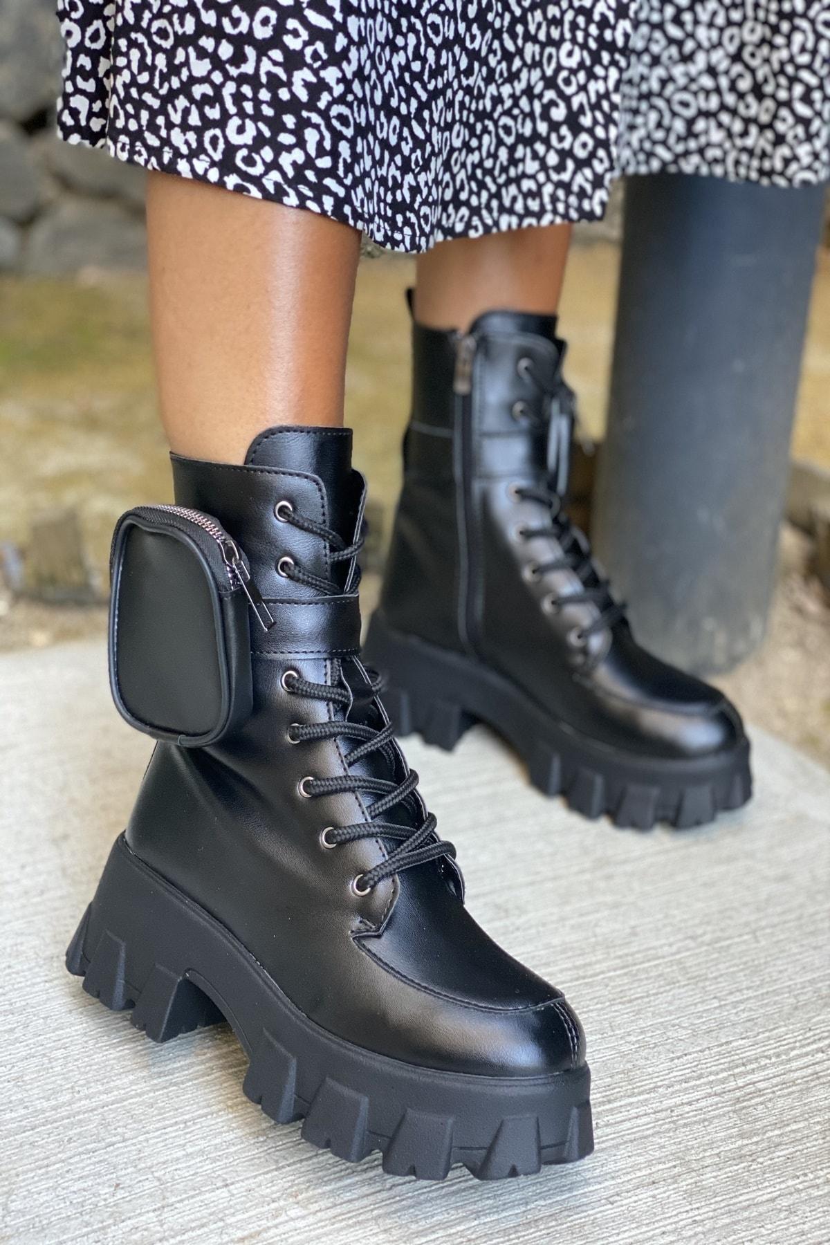 İnan Ayakkabı Bayan Yan Tarafından Cep Detaylı Fermuarlı Bot 1