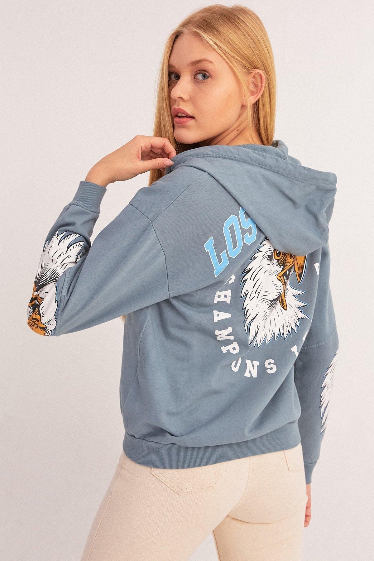 Fulla Moda Kartal Baskılı Fermuarlı Sweatshirt 1
