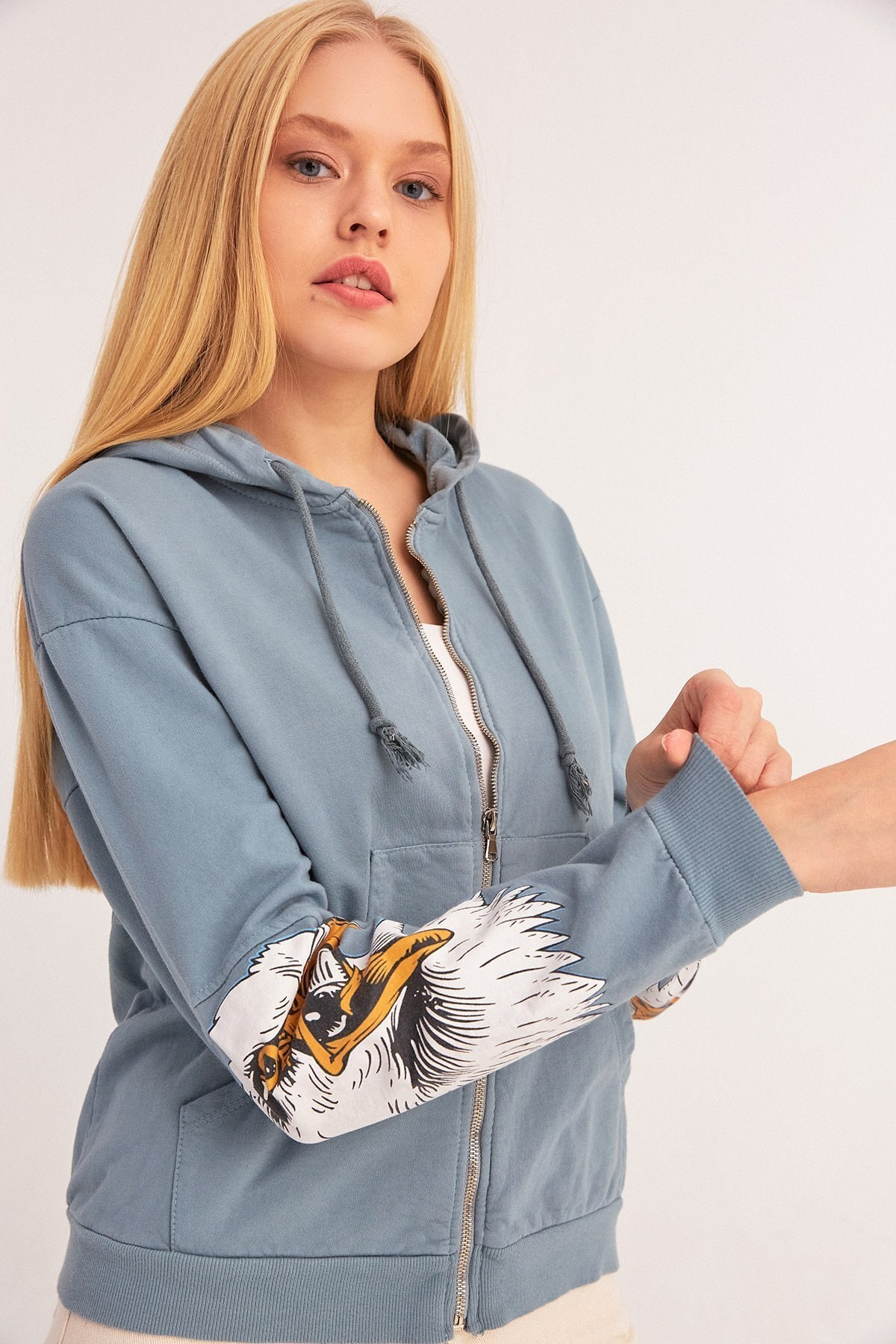 Fulla Moda Kartal Baskılı Fermuarlı Sweatshirt 2