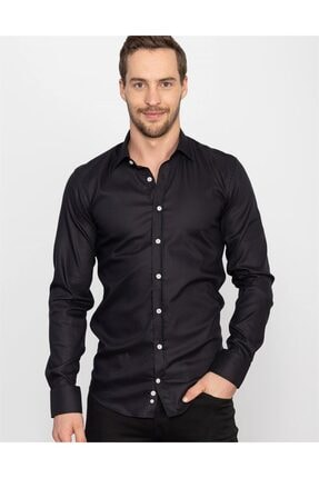 Tudors Dar Kesim Likralı Siyah Erkek Gömlek