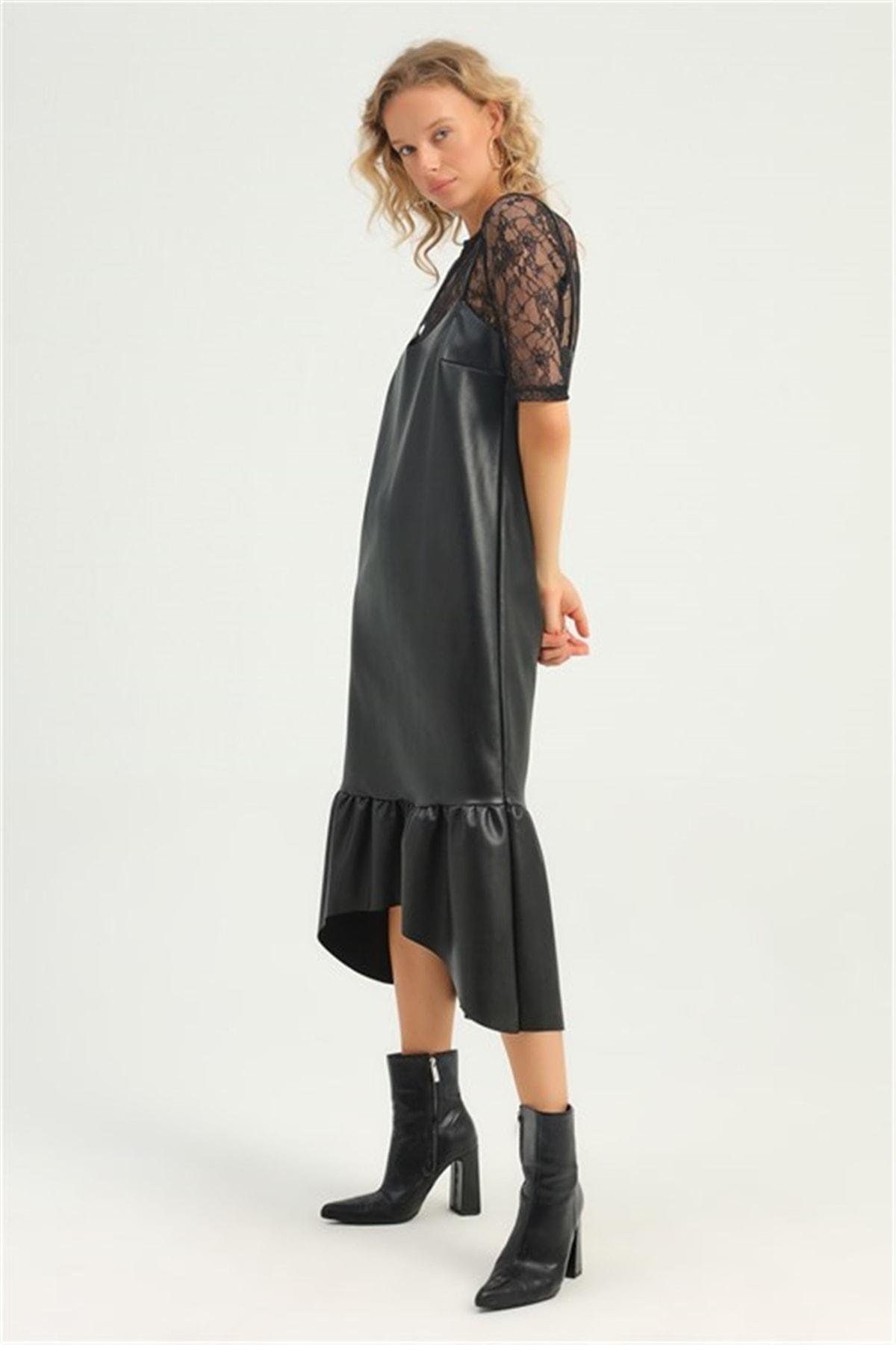 MARİSAM MODA Kadın Dantel Bluzlu Askılı Elbise 1