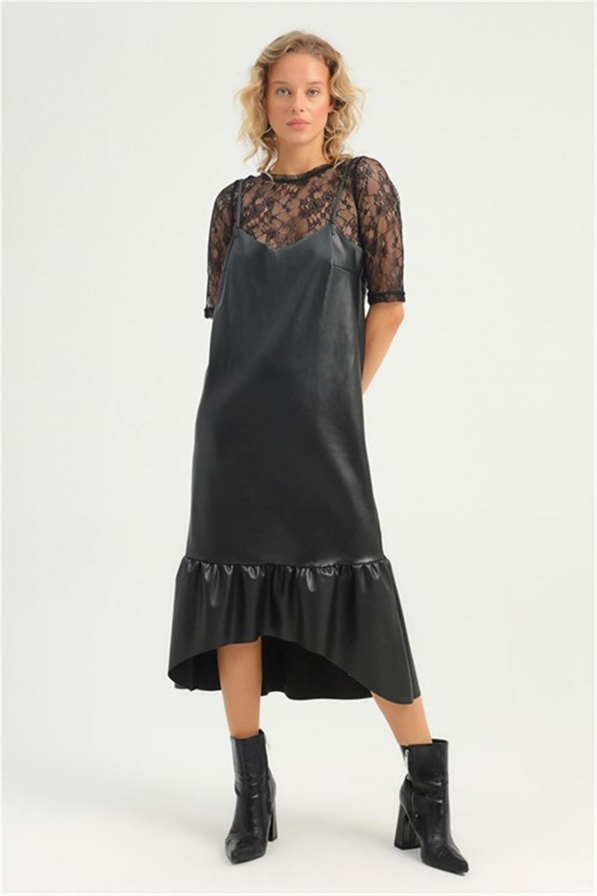MARİSAM MODA Kadın Dantel Bluzlu Askılı Elbise 2