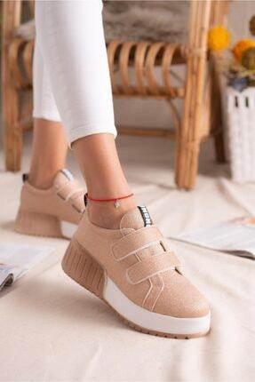 Limoya Julia Altın Simli Çift Bantlı Yüksek Tabanlı Sneakers