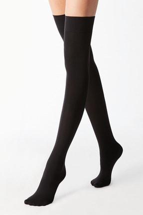 lovebox Kadın Siyah Pamuklu Dizüstü Çorap Jartiyer Boy Uzun Çorap
