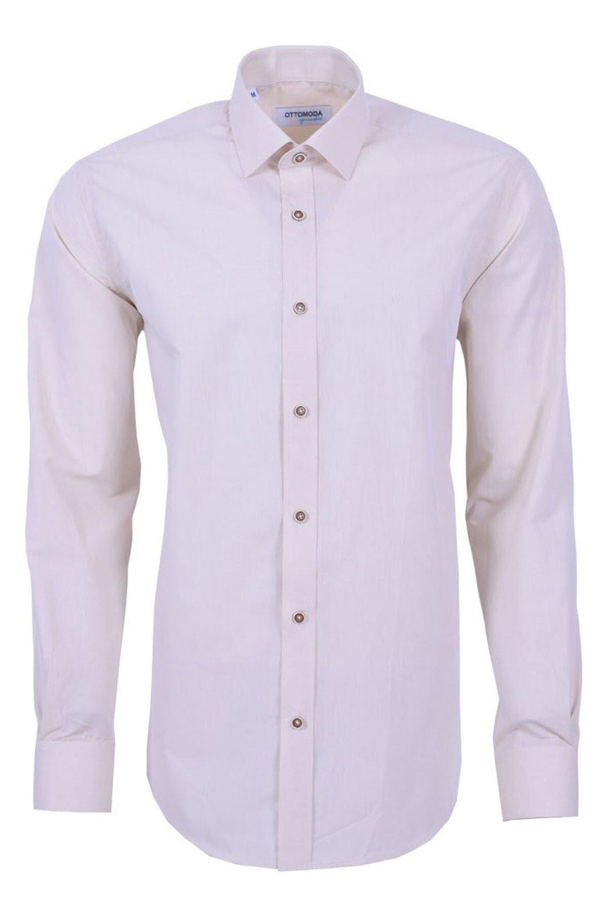 Ottomoda Uzun Kollu Klasik Erkek Gömlek Bej 1