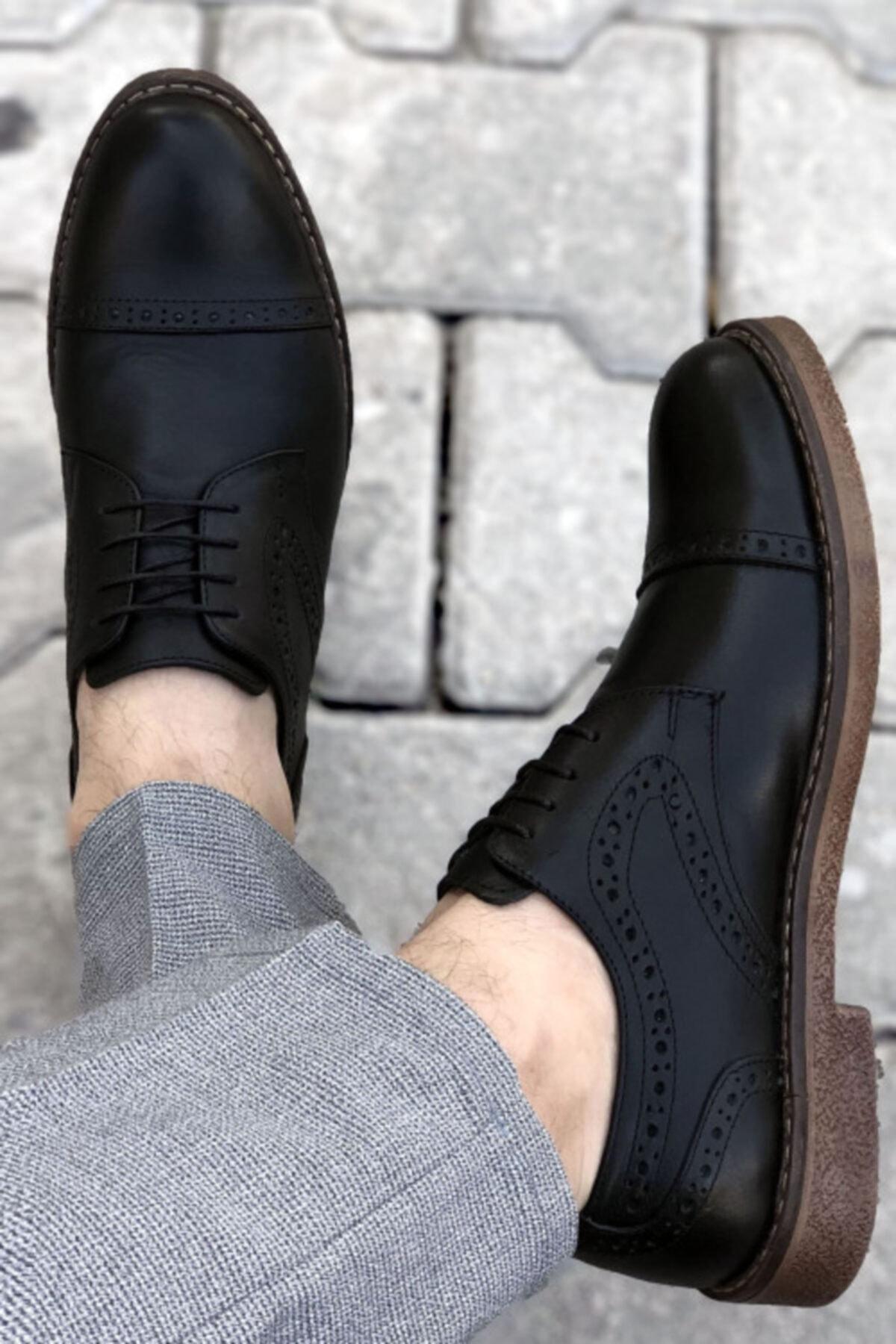 BIG KING Siyah Hakiki Deri Desenli Erkek Klasik Ayakkabı 1