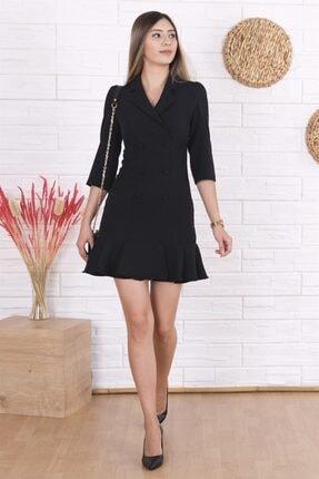 Arlin Kadın Blazer Dirsek Kol Siyah Elbise
