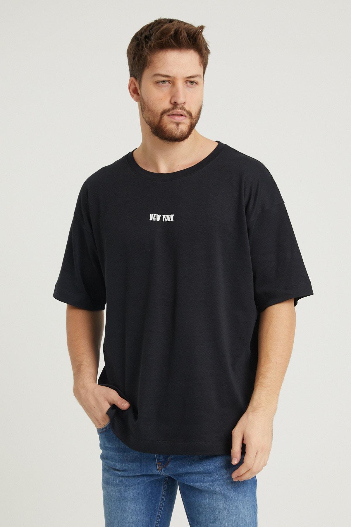 UNV COLLECTION New York Baskılı Erkek Oversizet-shirt 1