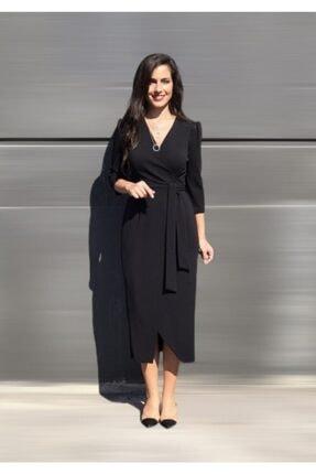 AYHAN Kruvaze Siyah Renk Elbise