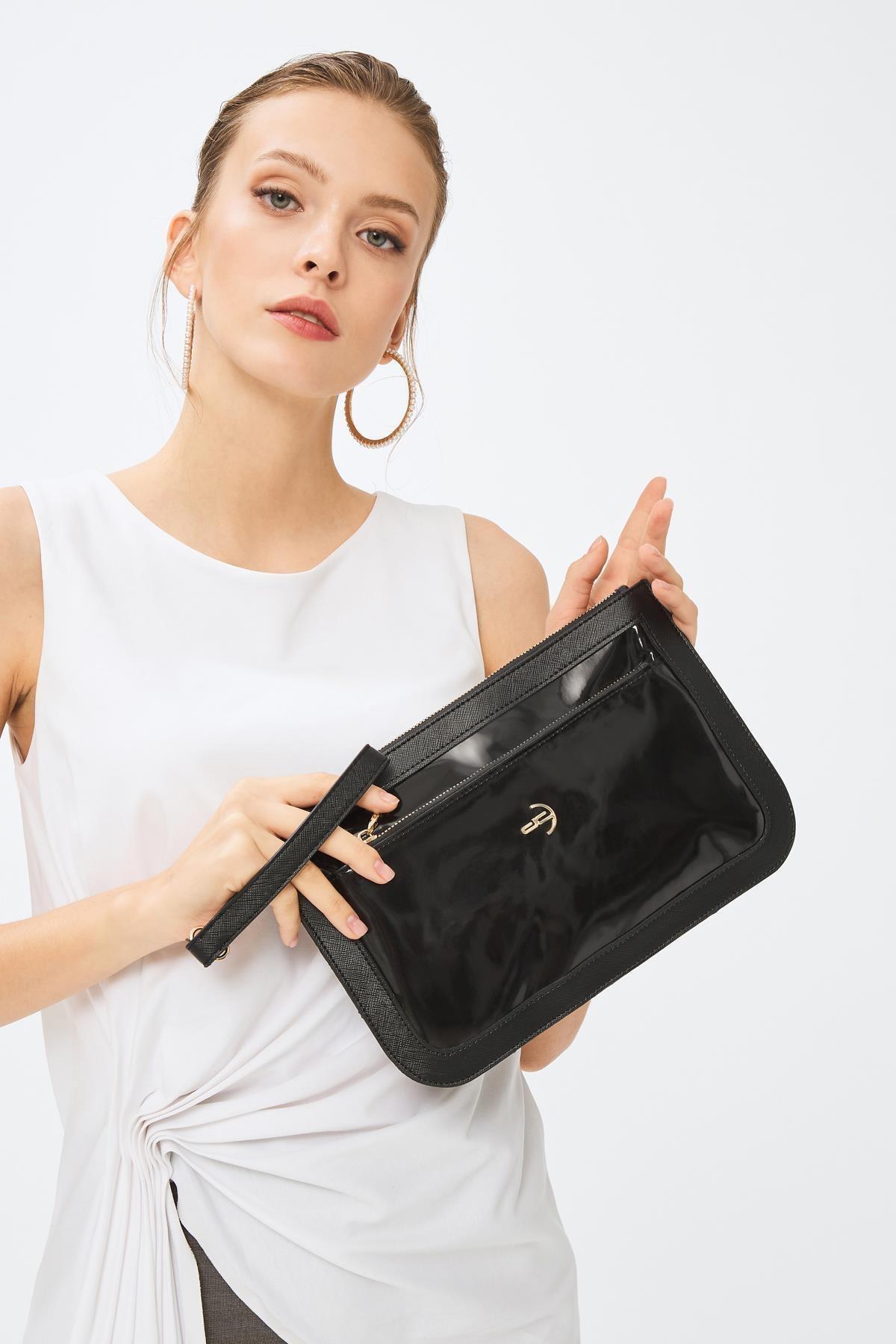 Deri Company Kadın Basic Clutch Çanta Rugan Siyah 214003 2