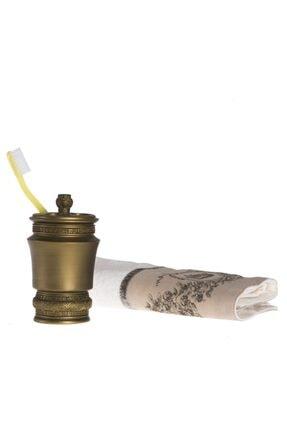 Bosphorus Diş Fırçalık Dekoratif Işlemeli Altın Model 10x10x14cm
