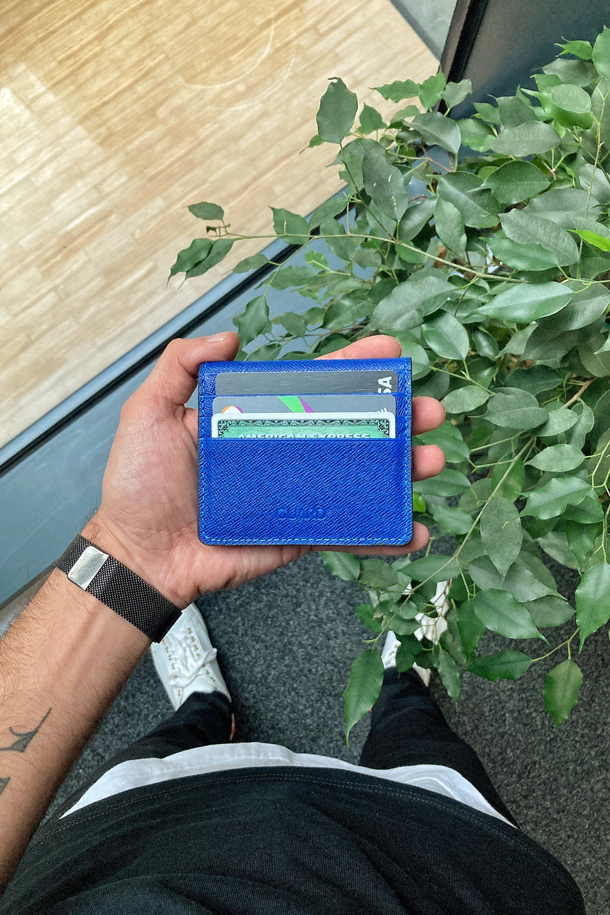 GUARD Hakiki Deri Kartlık - Para Bölmeli / Mavi Saffiano 1