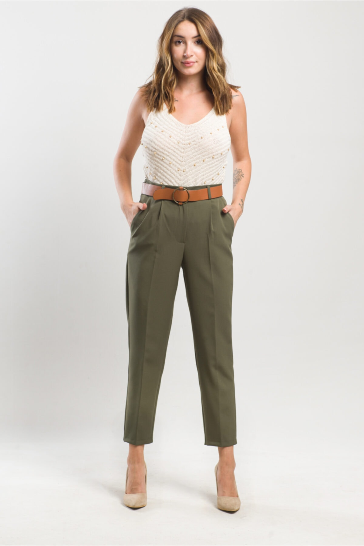caddecity Kemerli Double Casual Pantolon 1