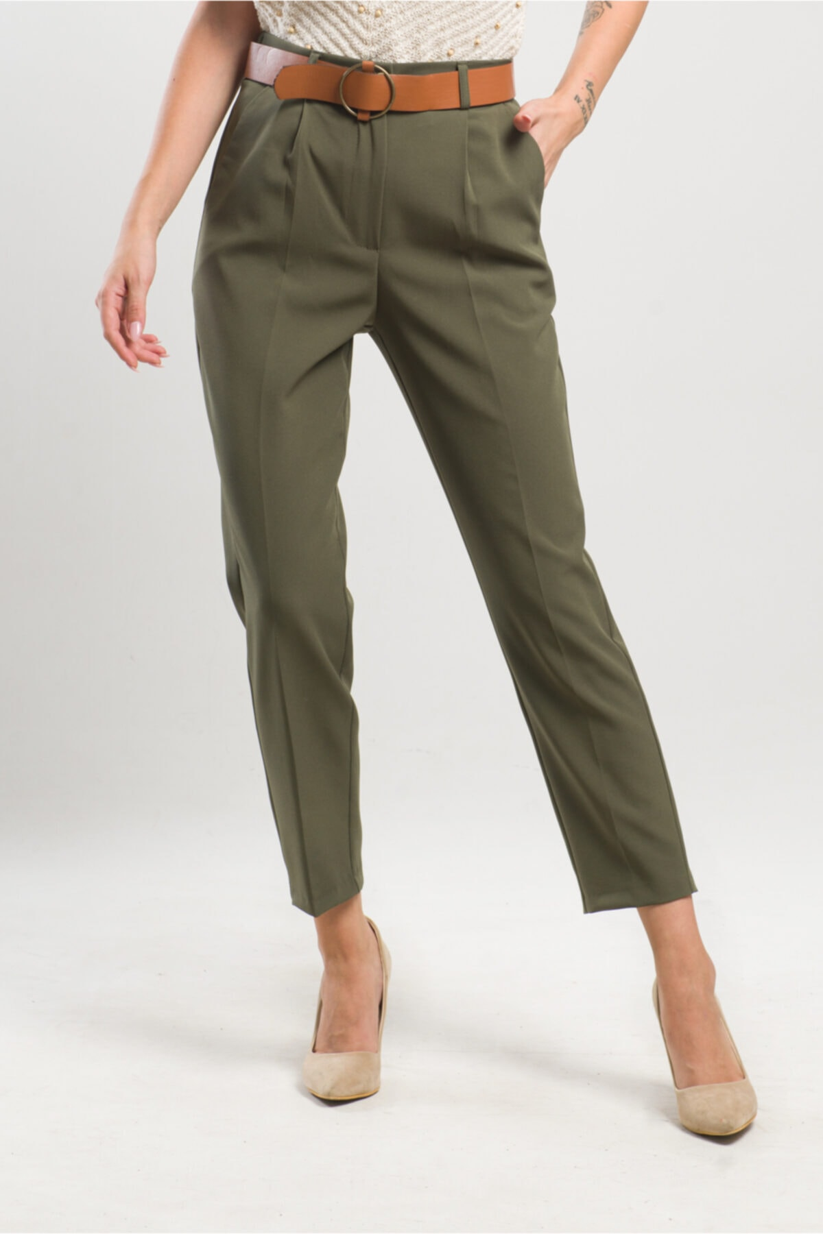 caddecity Kemerli Double Casual Pantolon 2
