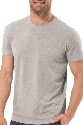 Blackspade Black Spade 9306 %94 Modal Kumaş Silver Serisi Usa Yaka Erkek T-shirt Gri Melanj