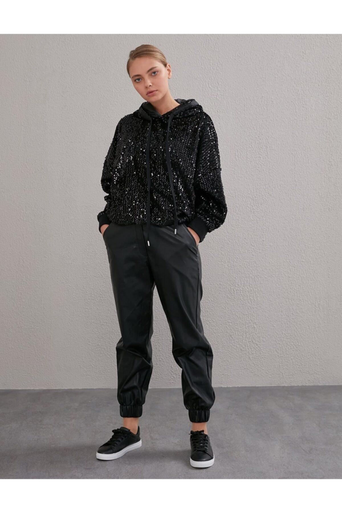 Kayra Beli Lastikli Spor Kesim Deri Pantolon Siyah A20 19115 1