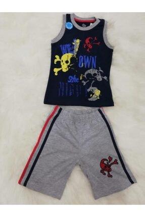 Wonder Kıds Erkek Çocuk Askılı Şortlu Pijama Takımı  130325 3 Lü