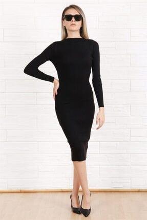Arlin Kadın Fitilli Simit Yaka Uzun Kol Badi Örme Triko Siyah Elbise