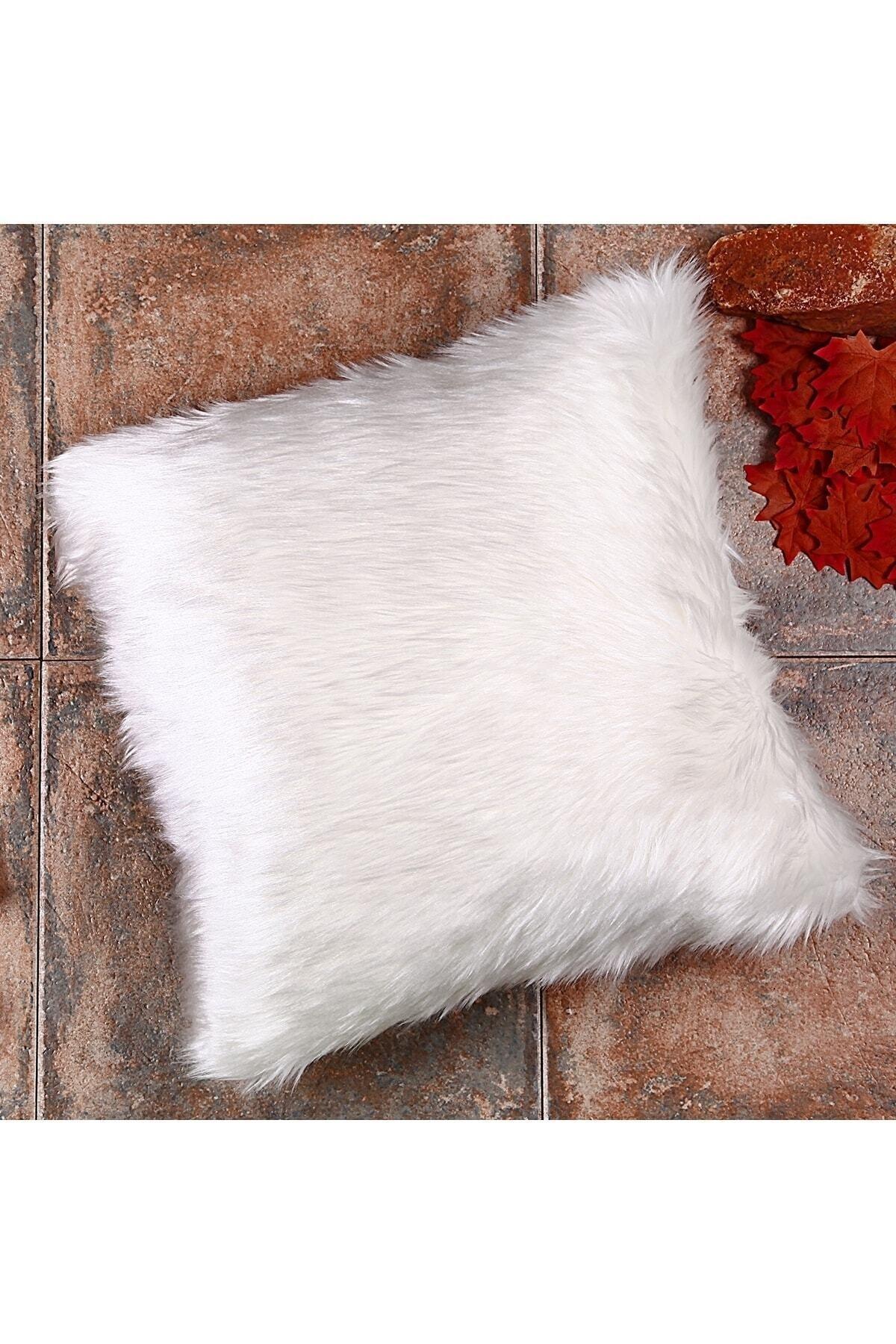 uğurhome Beyaz Renkli Peluş Kırlent Kılıfı Yns1834 1