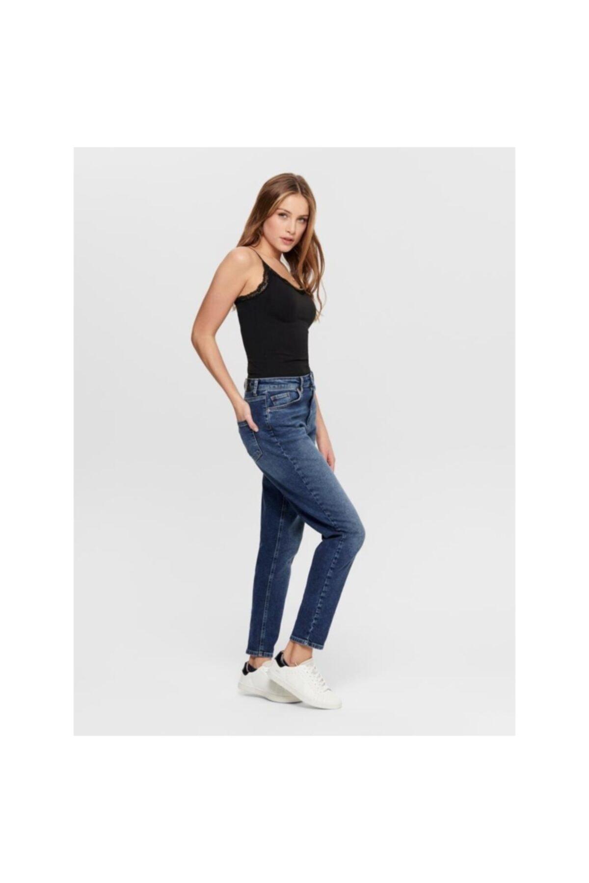 Only Veneda Life Mom Jeans Rea844 Noos Kadın Lacivert Jean 15206610-04 2