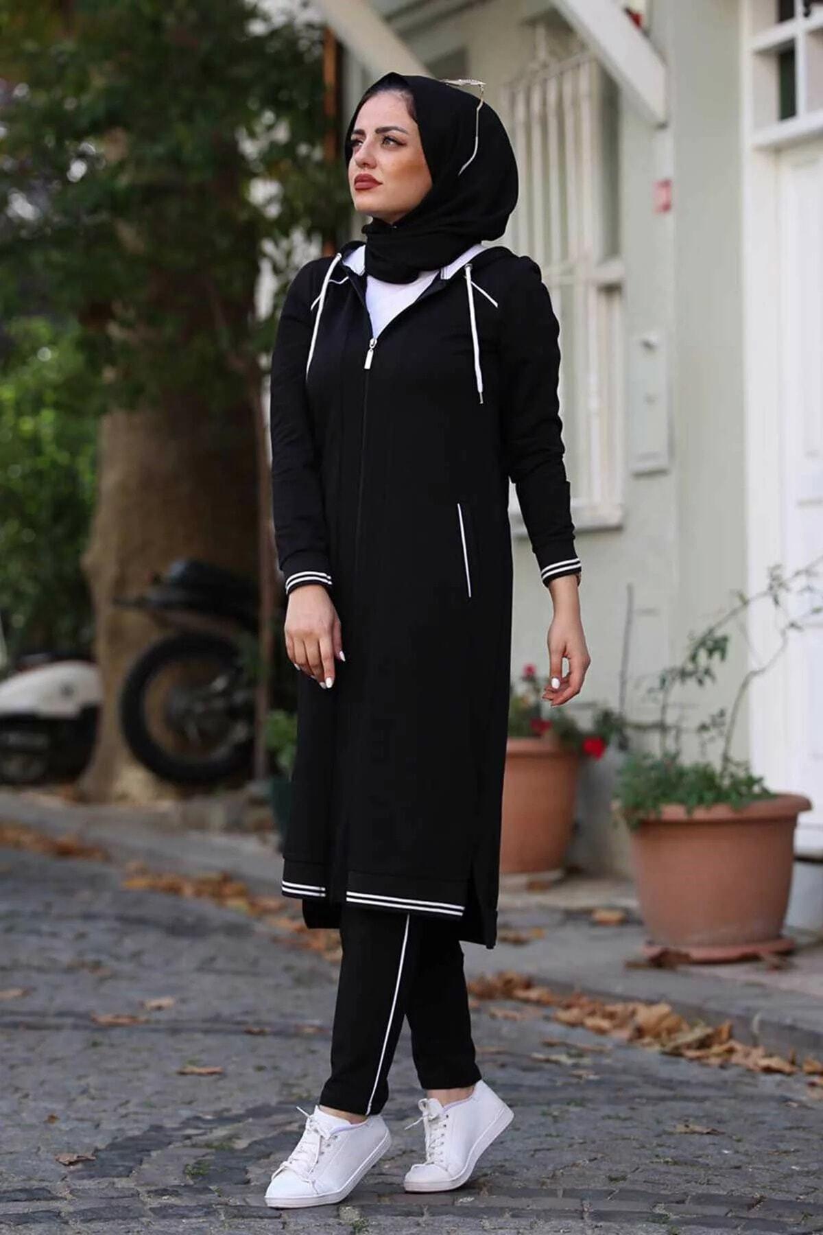Camelya Kadın Siyah Tesettür Eşofman Takımı 1