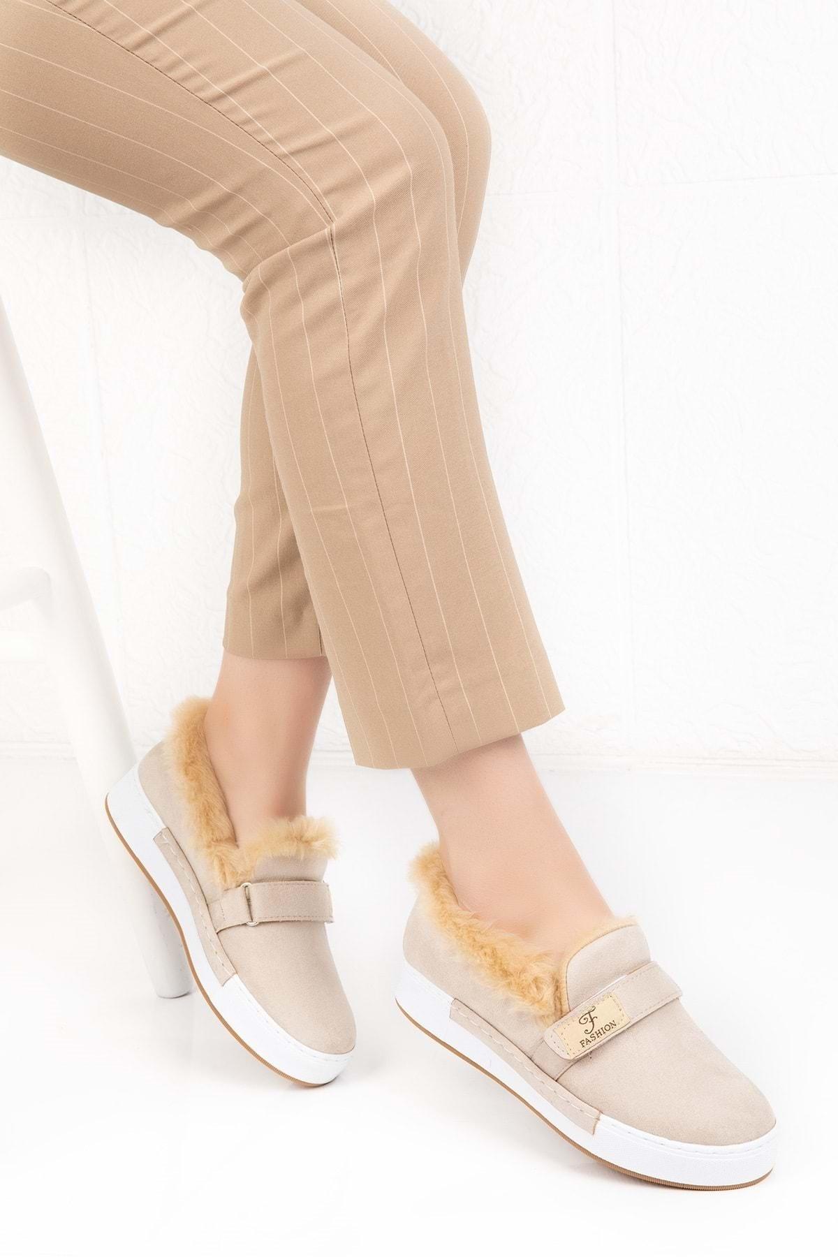 Gondol Içi Peluş Günlük Bağcıksız Ayakkabı Hsyn.90 - Krem - 37 2