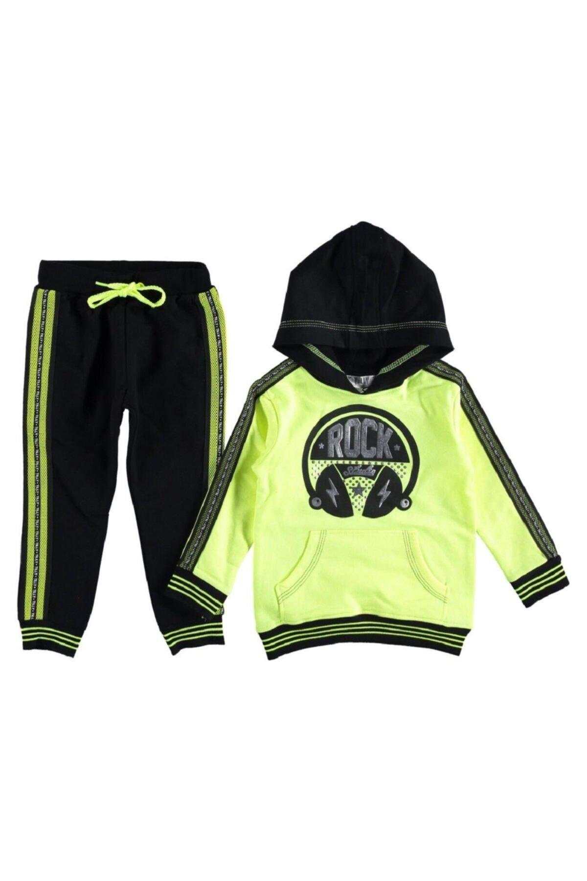 Cillop Rock Kapşonlu Neon Yeşil Kız Çocuk Eşofman Takımı 1