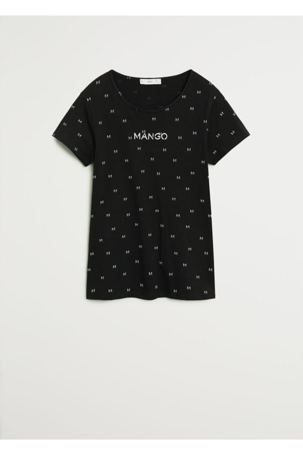 MANGO Woman Kadın Siyah Logo Baskılı Tişört 1