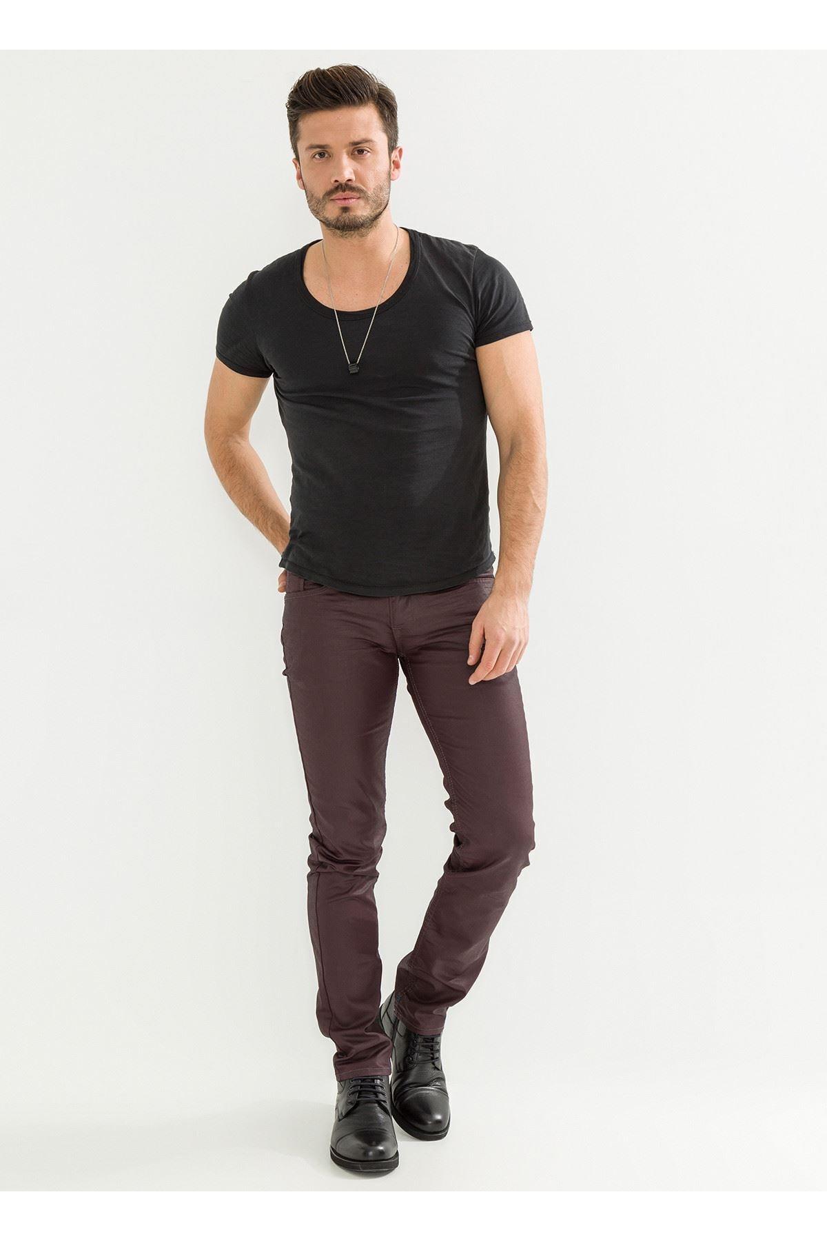 LTC Jeans Deri Görünüm Özel Kaplamalı Bordo Erkek Pantolon 1