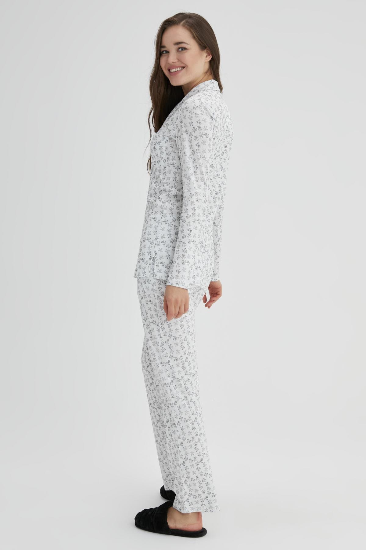 Dagi Ekru Kadın Pamuk Çıtır Çiçek Gömlek Pijama Takımı 2