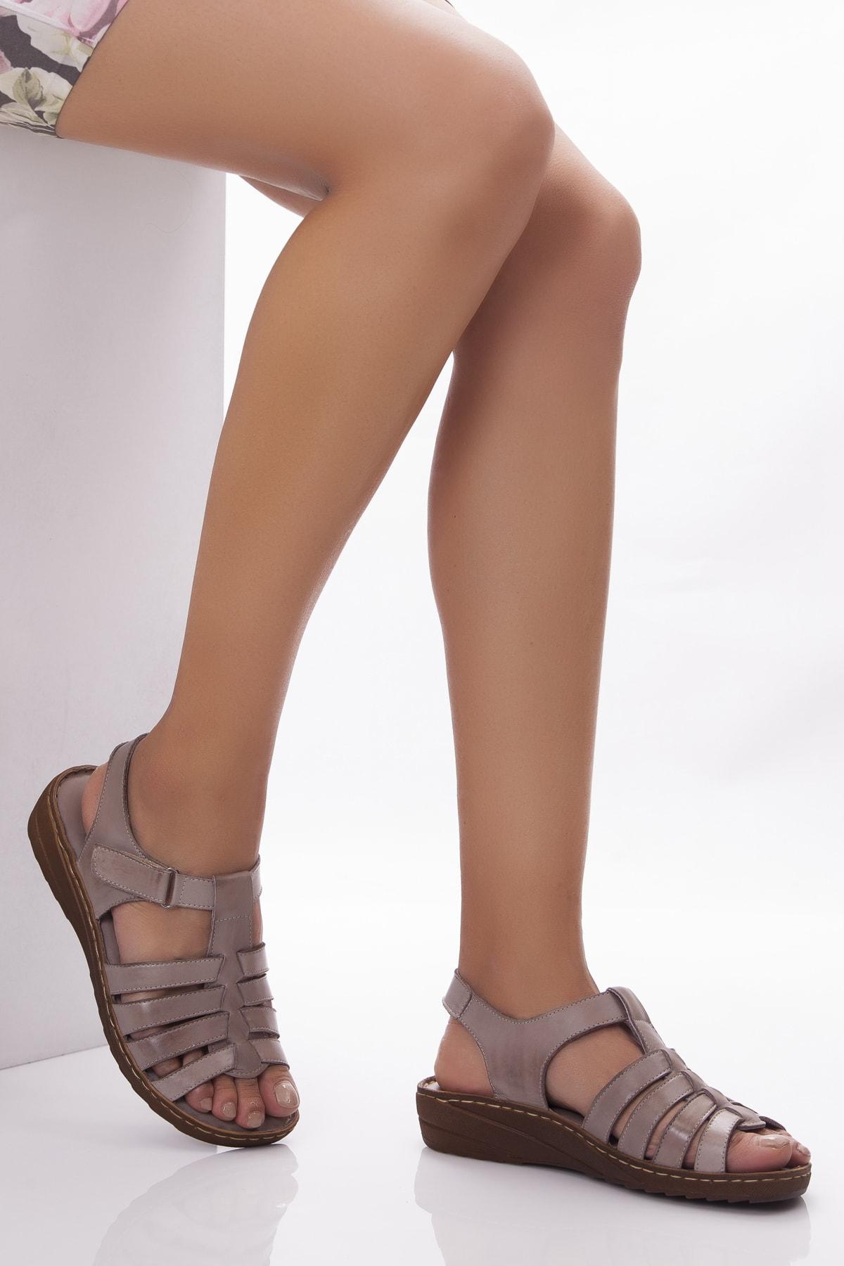 Deripabuc Hakiki Deri Dark Stone Kadın Deri Sandalet Dp05-0246 1