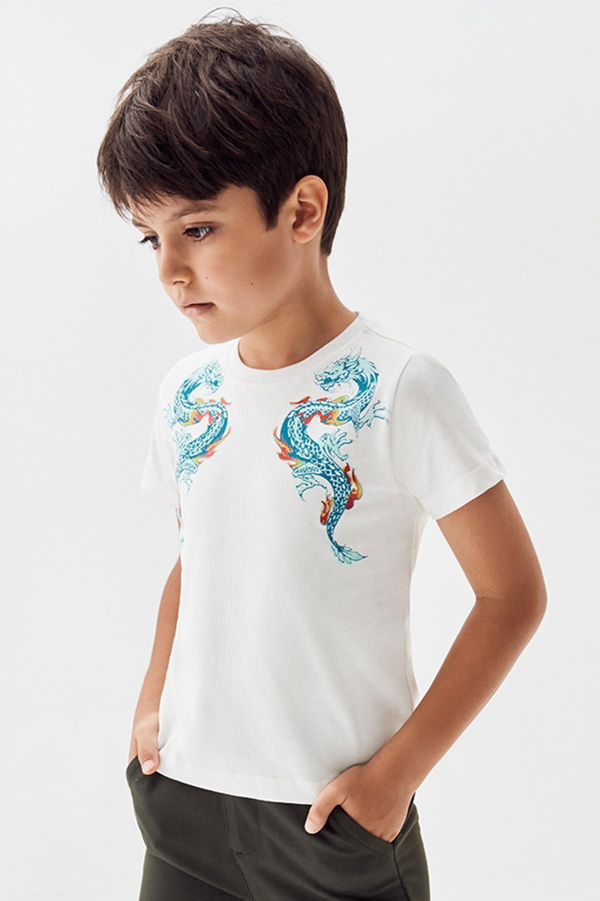 Nebbati Erkek Çocuk Ekru T-shirt 20pfwnb3507 1