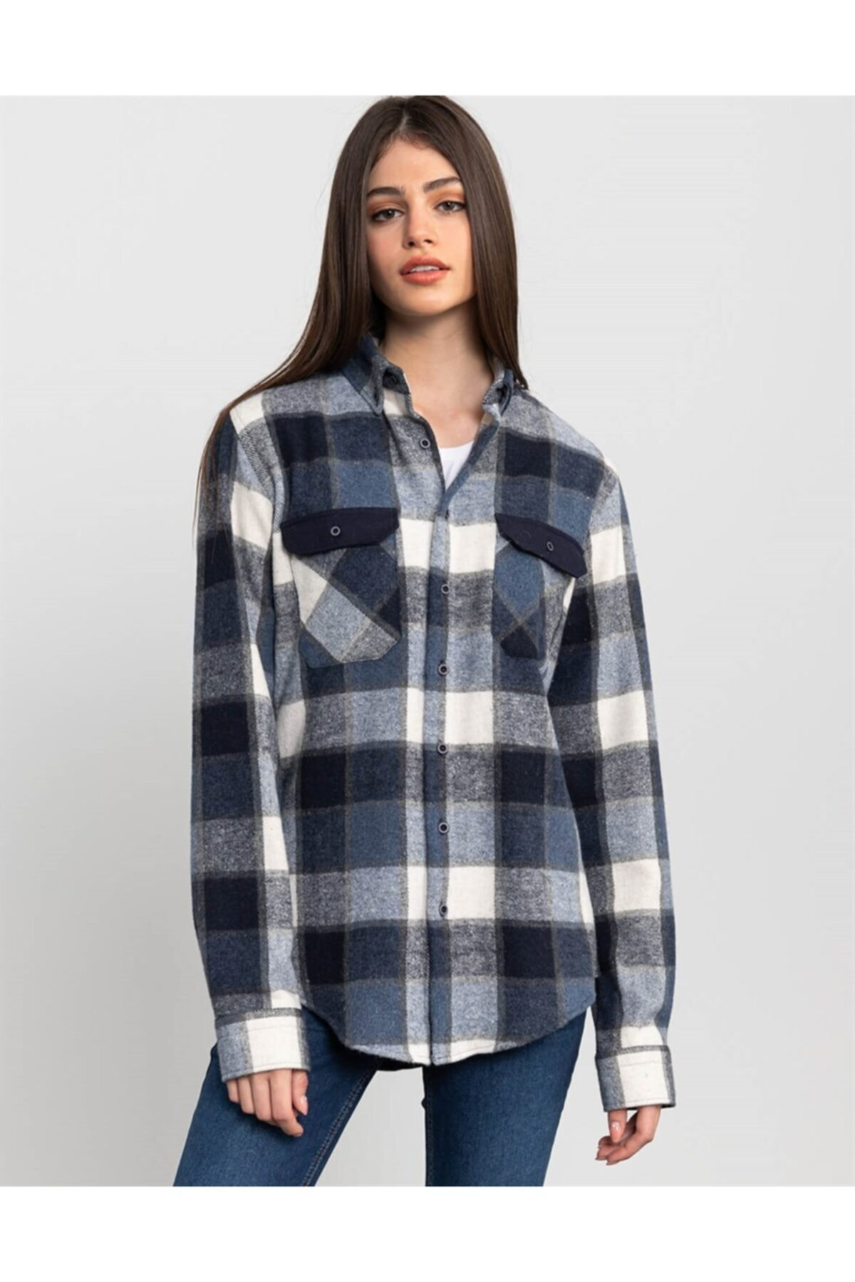 Tudors Slim Fit Unisex Kışlık Mavi Kareli Gömlek 2