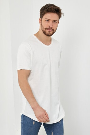 Tarz Cool Erkek Kırık Beyaz Pis Yaka Salaş T-shirt-tcps001r56s