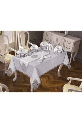 Çeyiz Diyarı Gümüş 26 Parça Elegant Masa Örtüsü Takımı
