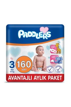 Paddlers Bebek Bezi 3 Numara Midi 160 Adet (4-9 Kg) Aylık Paket