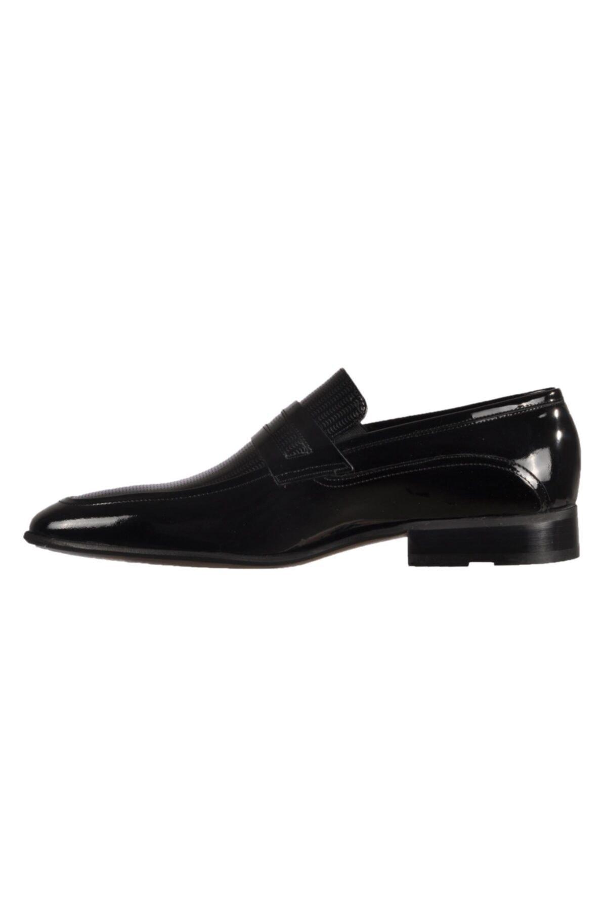 Fosco Siyah Rugan Erkek Hakiki Deri Klasik Ayakkabı 2