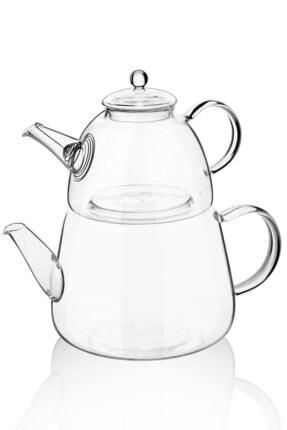 Queen's Kitchen Borasilikat Cam Büyük Çaydanlık Takımı