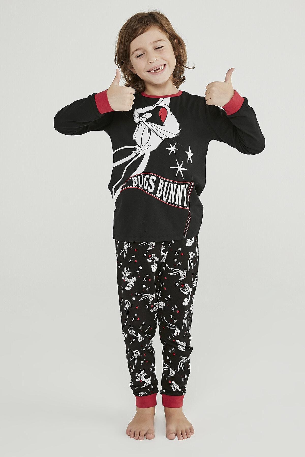 Penti Siyah Erkek Çocuk Bugs Bunny 2li Pijama Takımı 2