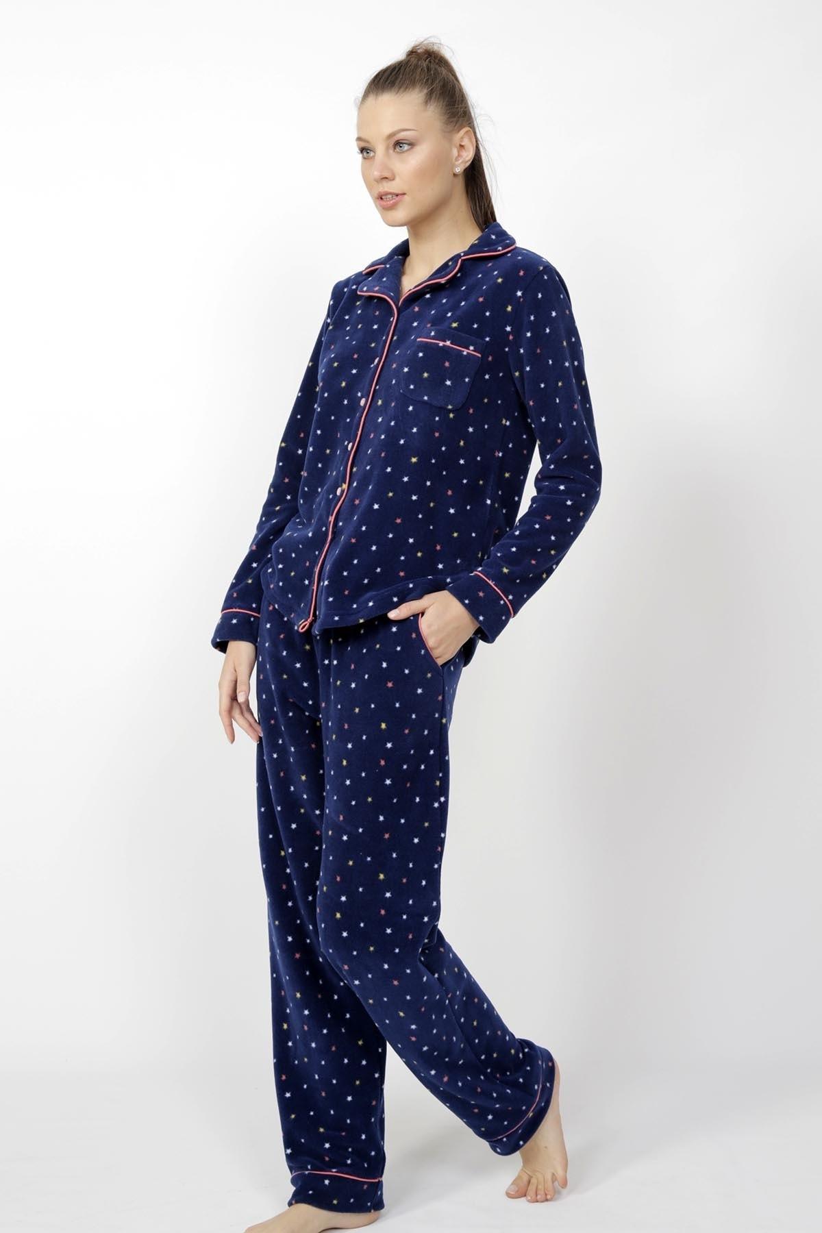 VİENETTA Uzun Kol Polar Yıldız Desenli Gömlek Tarzlı Pijama Takım 2