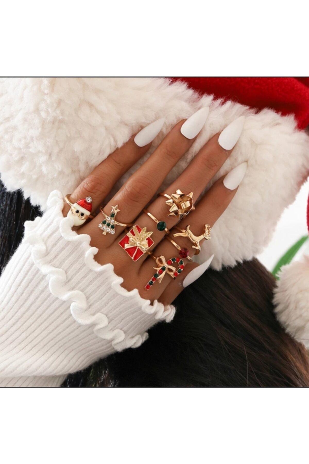 Pinkimaj Eklem Yüzüğü Yılbaşı Konsepti Gold 8 Adet Yeni Yıl Figürlü Set Sınırlı Sayıda 1