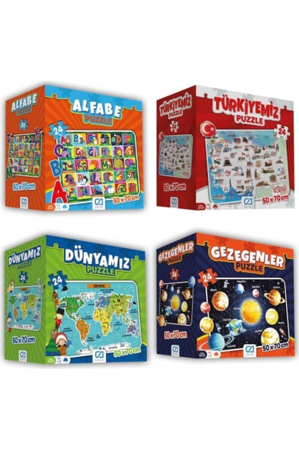 CA Games 4'lü Süper Yer Puzzle Seti(Türkiye-dünyamız-gezegenler-alfabe) 1