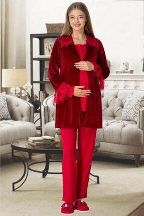Mecit 5306 Bordo Kadife Sabahlıklı Lohusa Pijama Takımı