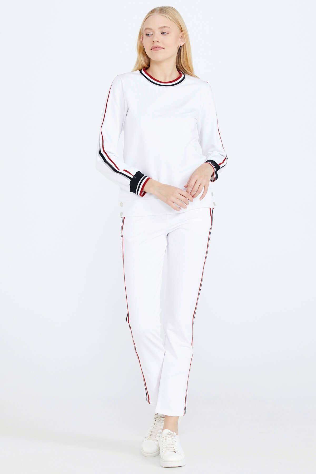 Sementa Şerit Çizgili Kadın Eşofman Takımı - Beyaz 2