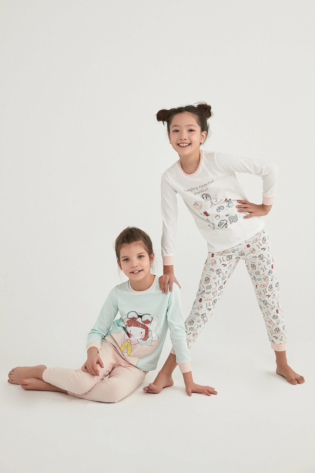 Penti Çok Renkli Kız Çocuk Camp Eentıal Ls 4Lü Pijama Takımı