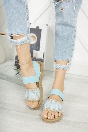 MUGGO Kadın Bebe Mavisi Elastik Sandalet Mgnakıs03