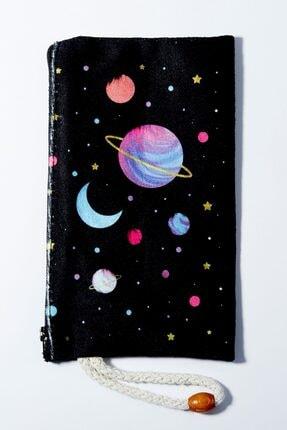 EFBUTİK Renkli Ay Saturn Bez Kalemlik Cüzdan