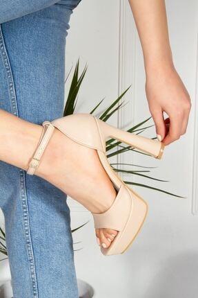 derithy Kadın Bej Topuklu Ayakkabı