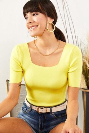 Olalook Kadın Sarı Kare Yaka Bel Üstü Triko Bluz BLZ-19001378